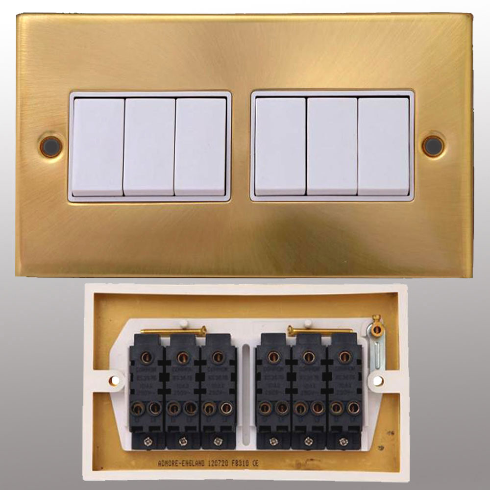 Brushed Brass Light Switches: Electrical Switch Socket & Wall Sockets Switches |  Powerstarelectricals.co.uk,Lighting